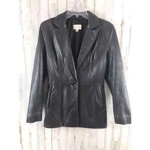 Caché  brown leather blazer size 6